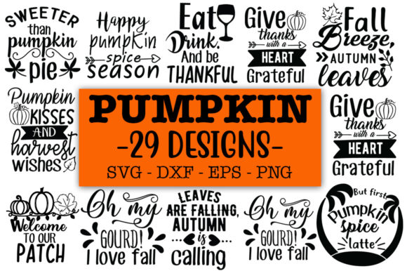 Print on Demand: 29 Pumpkin SVGs Graphic Print Templates By Designdealy.com