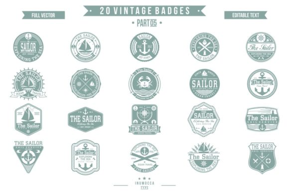 2O Vintage Sailor Graphic Logos By inumocca_type - Image 4