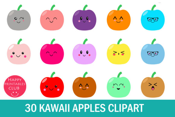 Print on Demand: 30 Kawaii Apples Clipart- Apples Clipart Graphic Illustrations By Happy Printables Club - Image 1