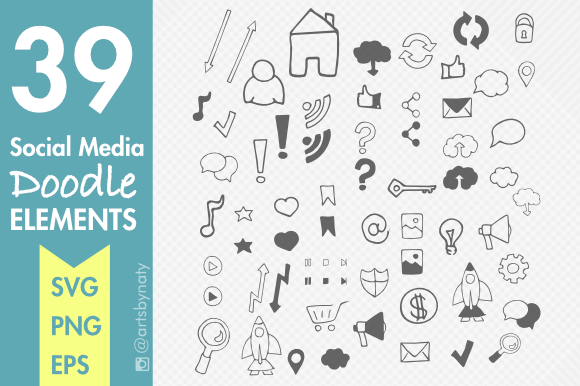 Print on Demand: 39 Social Media Doodle Elements Graphic Illustrations By artsbynaty - Image 1