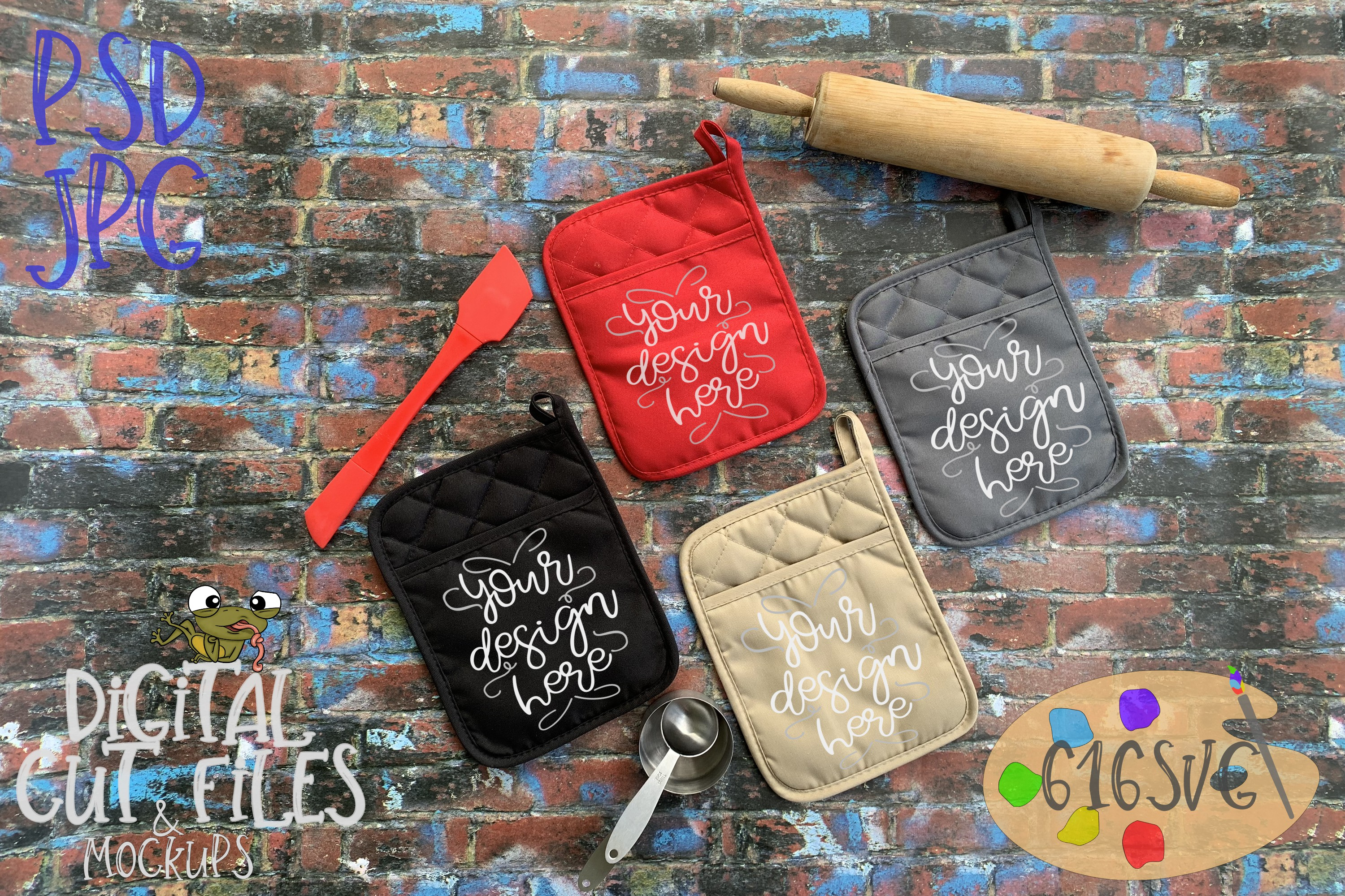 Download Free 4 Colors Of Potholders In Jpg Psd Mockup Graphic By 616svg for Cricut Explore, Silhouette and other cutting machines.