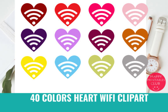 Download Free 40 Colors Heart Wifi Clipart Graphics Graphic By Happy Printables Club Creative Fabrica for Cricut Explore, Silhouette and other cutting machines.