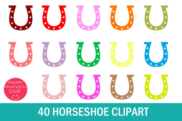Print on Demand: 40 Horseshoe Clipart Graphics Graphic Illustrations By Happy Printables Club