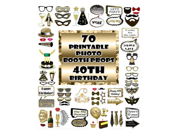 Print on Demand: 40th Birthday Photo Booth Props Gold Graphic Crafts By DigitalPrintableMe