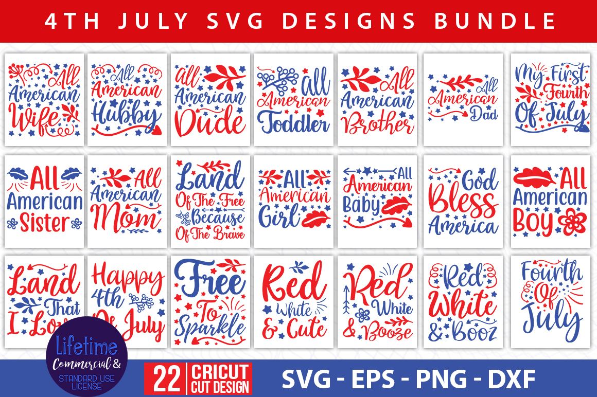 Download Free 4th Of July Quotes Bundle Graphic By Handmade Studio Creative for Cricut Explore, Silhouette and other cutting machines.