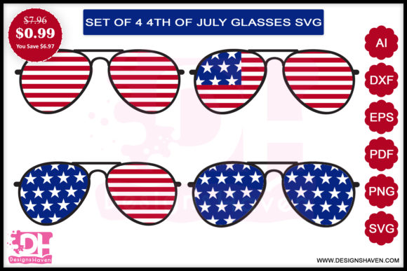Print on Demand: 4th July Glasses Svg, Eps, Png, Dxf, Pdf Graphic Print Templates By DesignsHavenLLC