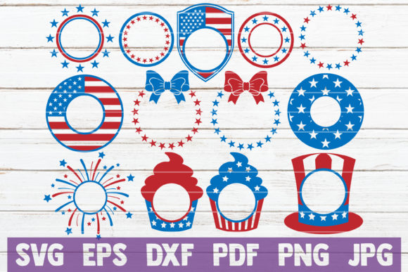 Download Free 4th Of July Monograms Svg Bundle Graphic By Mintymarshmallows for Cricut Explore, Silhouette and other cutting machines.