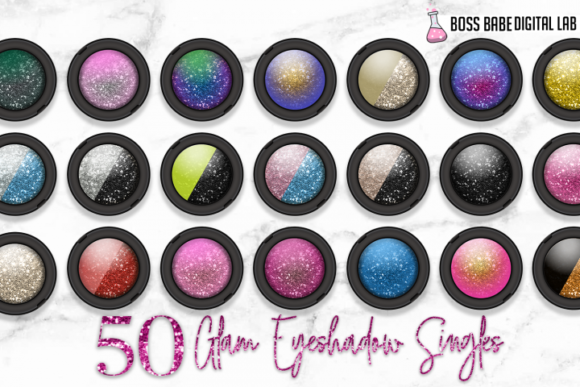 Print on Demand: 50 Glam Eye Shadow Clipart Graphic Objects By bossbabedigitallab - Image 2