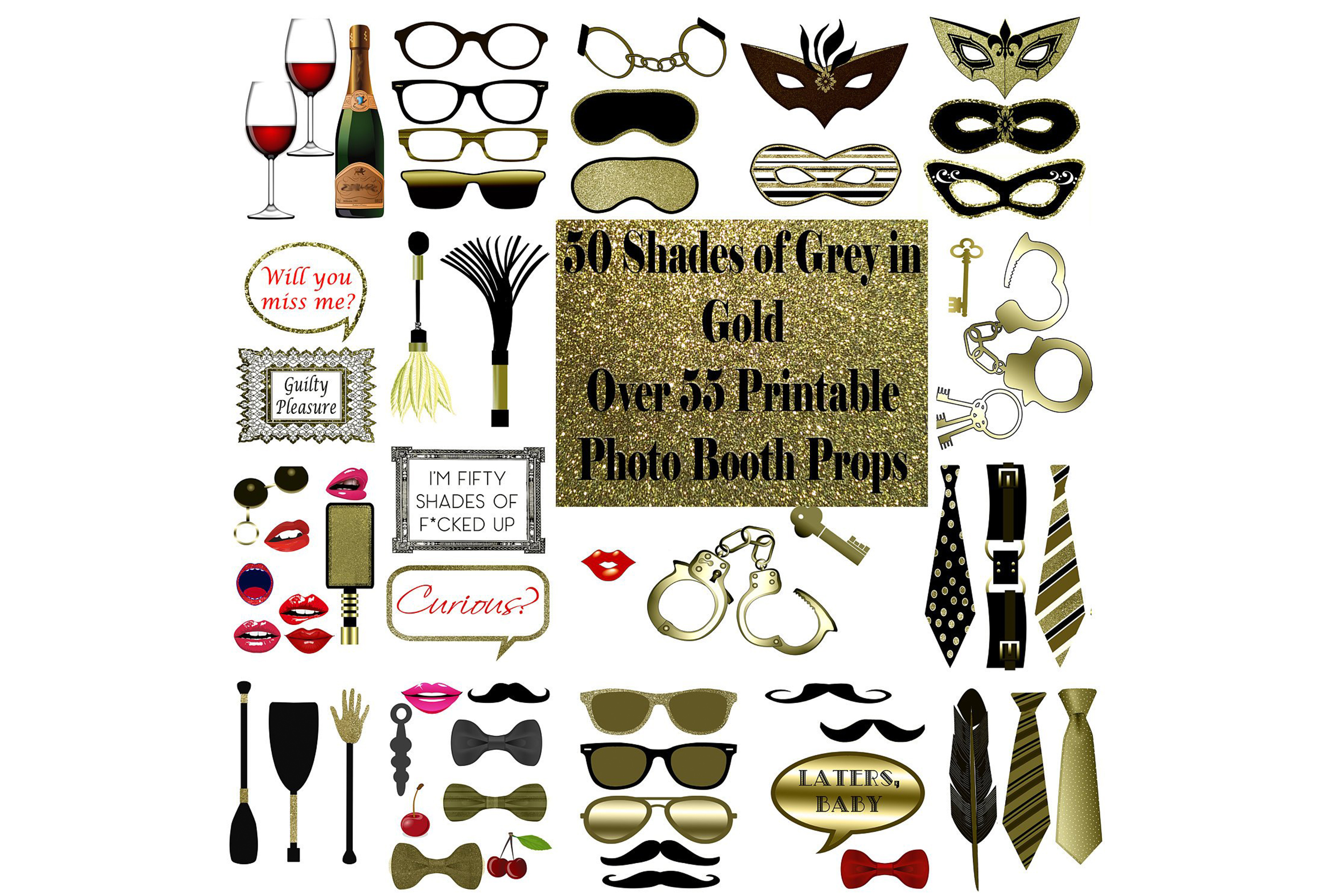 Download Free Bdsm Photo Booth Props Gold Graphic By Digitalprintableme for Cricut Explore, Silhouette and other cutting machines.