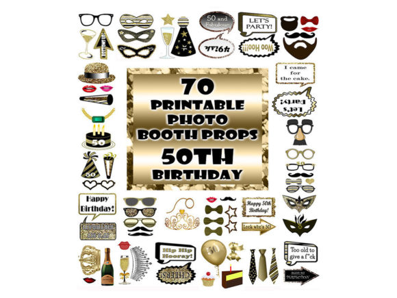 Download Free 50th Birthday Photo Booth Prop Gold Graphic By for Cricut Explore, Silhouette and other cutting machines.