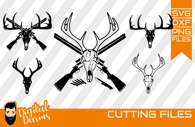 5x Deer Hunt Svg Deer Head Svg Graphic By Digitaldarius Creative Fabrica