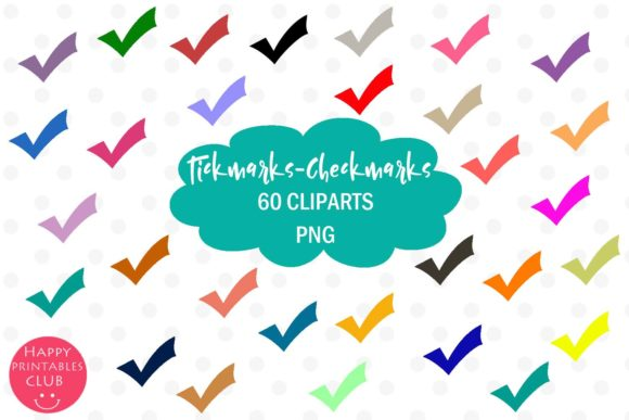 Download Free 60 Tickmarks Clipart Checkmarks Clipart Graphic By Happy for Cricut Explore, Silhouette and other cutting machines.