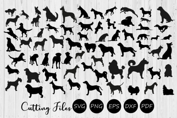 Print on Demand: 68 Dog Silhouettes Super Bundle SVG Graphic Crafts By HD Art Workshop