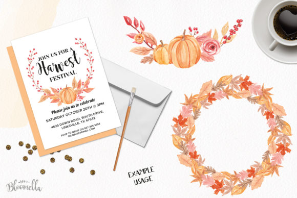 7 Wreaths Harvest Festival Pumpkin Graphic By Bloomella Image 3
