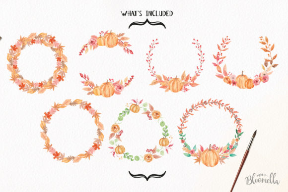 7 Wreaths Harvest Festival Pumpkin Graphic By Bloomella Image 5