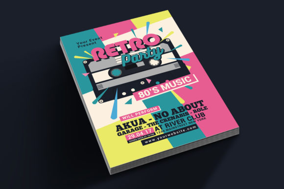 Download Free 80 S Retro Music Party Cassette Graphic By Muhamadiqbalhidayat for Cricut Explore, Silhouette and other cutting machines.