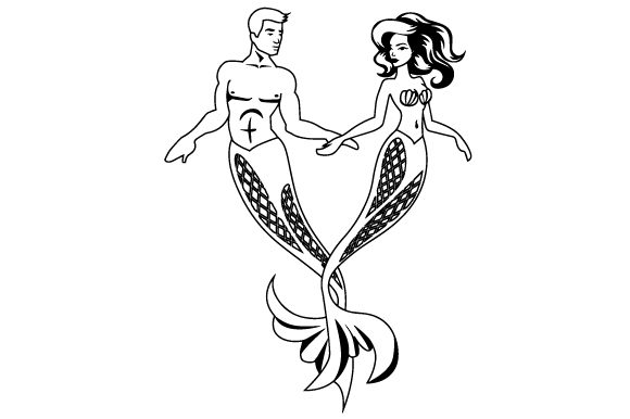 A Mermaid and a Merman Making a Heart with Their Tails