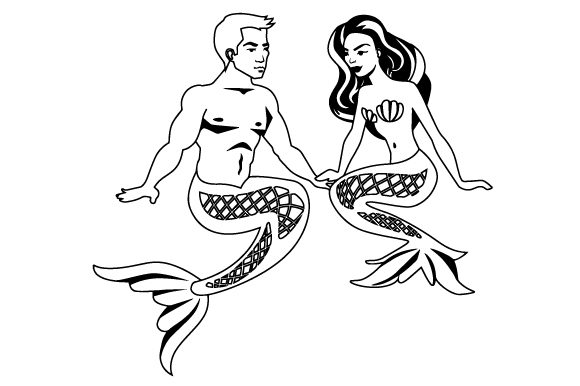 A Mermaid and a Merman Sitting Together Craft Design By Creative Fabrica Crafts Image 2
