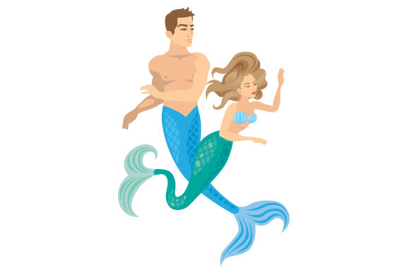 Download Free A Mermaid And A Merman Swimming Together Svg Cut File By for Cricut Explore, Silhouette and other cutting machines.