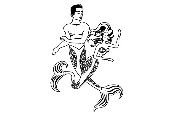 A Mermaid and a Merman Swimming Together