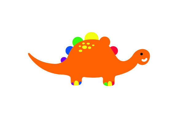 A Rainbow Colored Dinosaur Animals Craft Cut File By Creative Fabrica Crafts