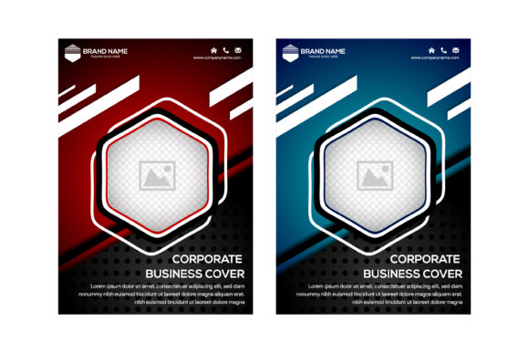 Abstract Flyer Hexagon Blue And Red