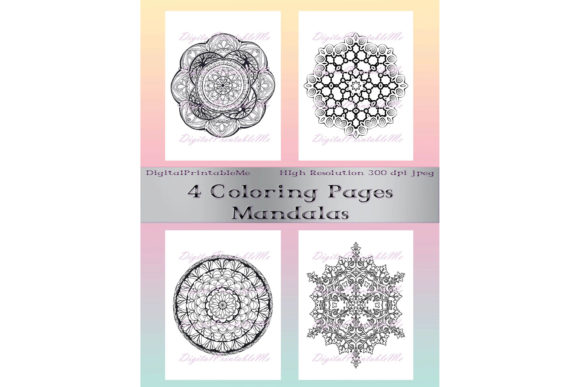 Print on Demand: Adult Coloring Page Pack 4 Mandala Sheet Graphic Coloring Pages & Books Adults By DigitalPrintableMe