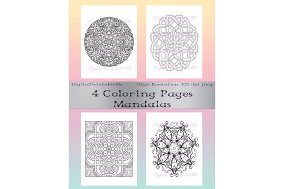 Adult Coloring Page Pack 4 Mandala Sheet Graphic Crafts By DigitalPrintableMe