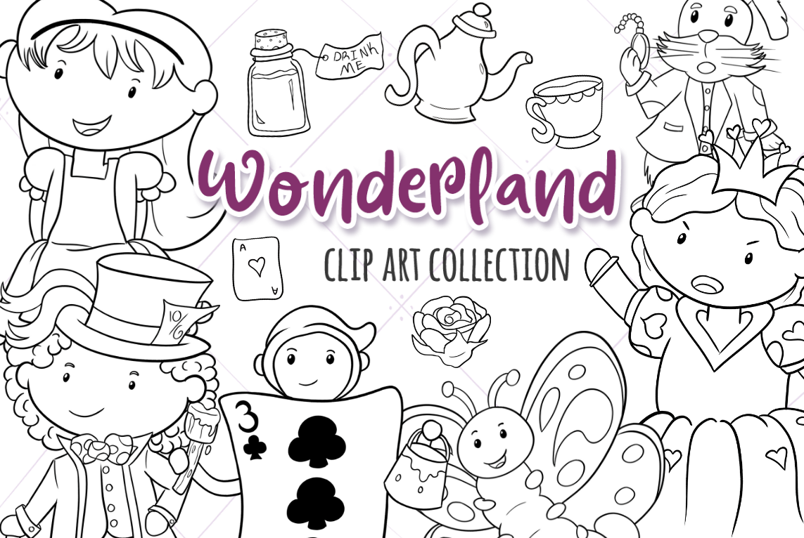 Download Free Alice In Wonderland Black And White Graphic By for Cricut Explore, Silhouette and other cutting machines.
