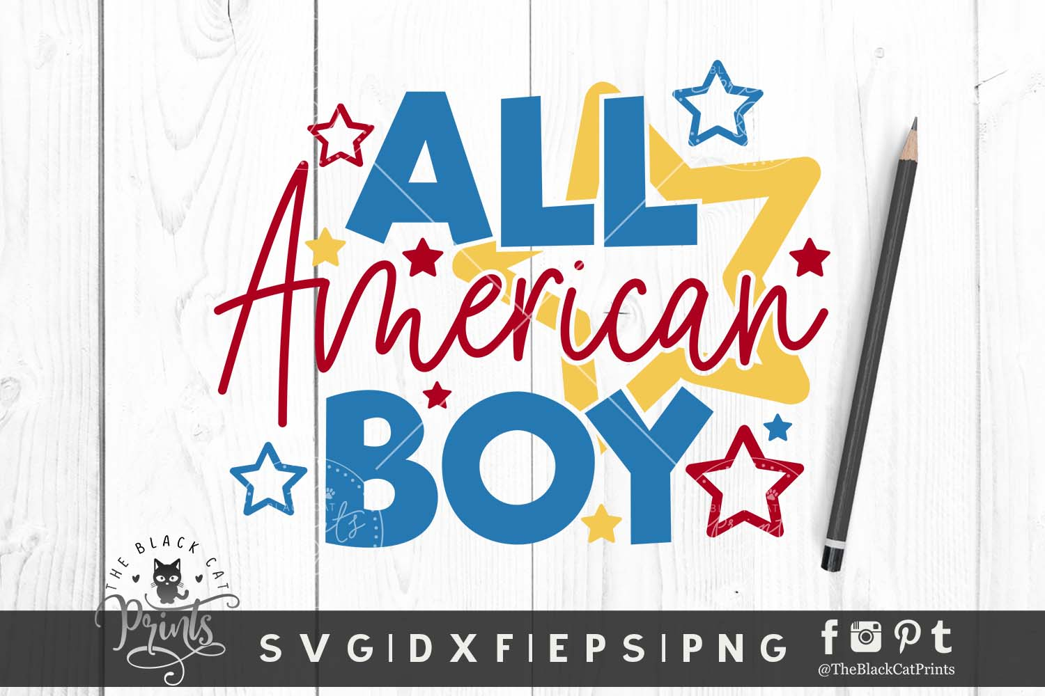 Download Free All American Boy Svg Dxf Eps Png Graphic By Theblackcatprints for Cricut Explore, Silhouette and other cutting machines.