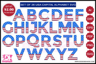 American Flag Font Capital Letters Svg Graphic By DesignsHavenLLC
