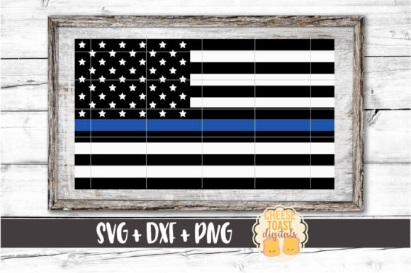 American Flag - Thin Blue Line Gráfico Crafts Por CheeseToastDigitals