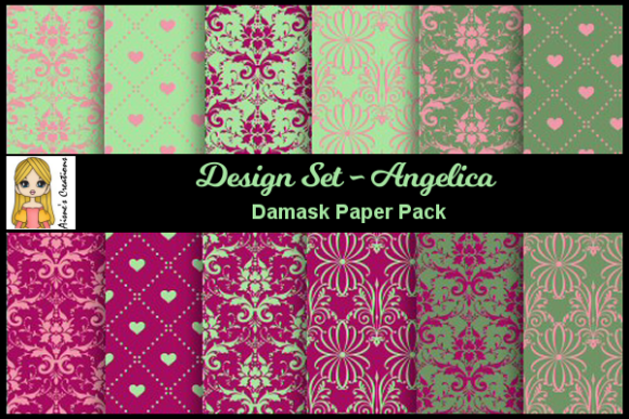 Download Free Angelica Set Damask Paper Pack Graphic By Aisne Creative Fabrica for Cricut Explore, Silhouette and other cutting machines.