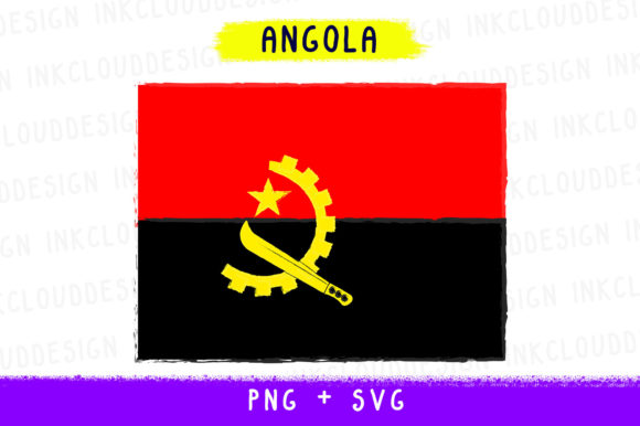 Angola Africa, World Country Flags, Cut Graphic By Inkclouddesign Image 1