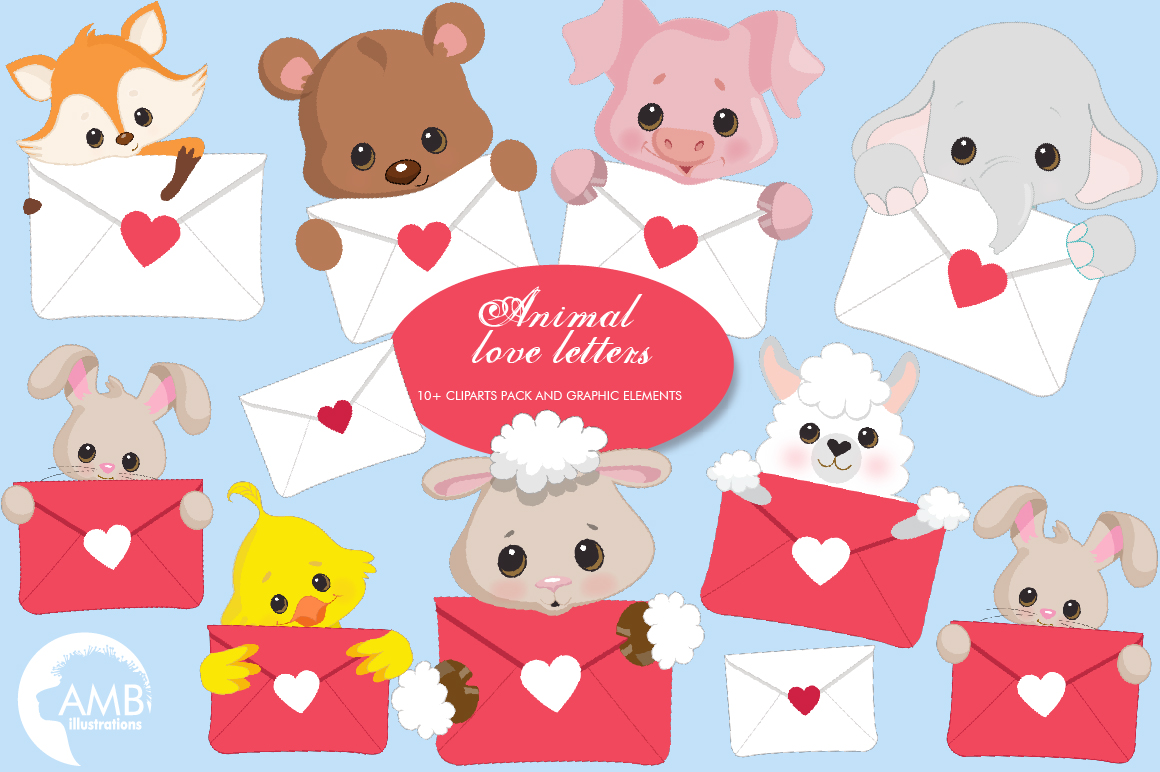 Animal Love Letters Clipart Amb 2148 Graphic By Ambillustrations