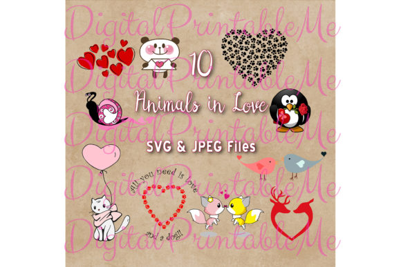 Print on Demand: Animals in Love Clip Art, Set of 10 SVG Graphic Illustrations By DigitalPrintableMe