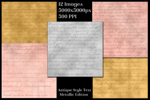 Antique Style Text Backgrounds Metallic Graphic By SapphireXDesigns Image 2