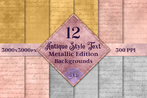 Print on Demand: Antique Style Text Backgrounds Metallic Graphic Backgrounds By SapphireXDesigns
