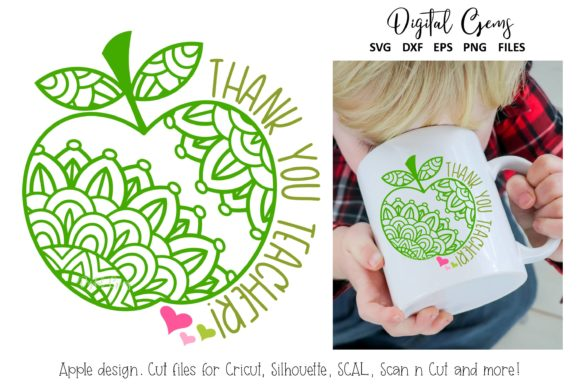 Download Free Apple Thank You Teacher Design Graphic By Digital Gems for Cricut Explore, Silhouette and other cutting machines.