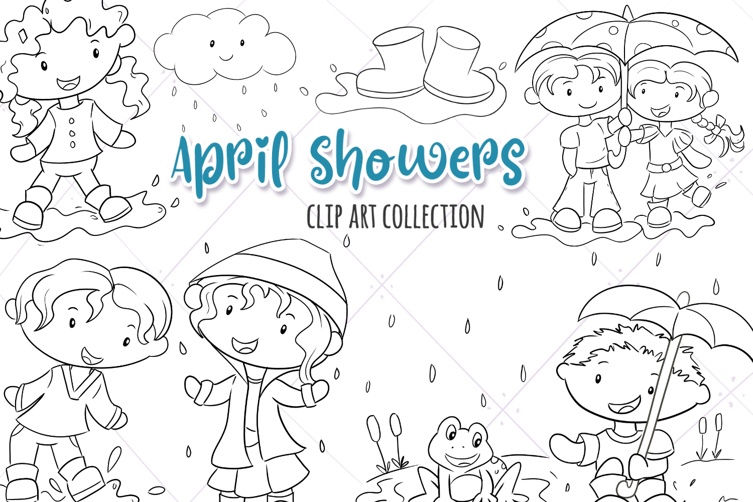 Download Free April Showers Black And White Graphic By Keepinitkawaiidesign for Cricut Explore, Silhouette and other cutting machines.
