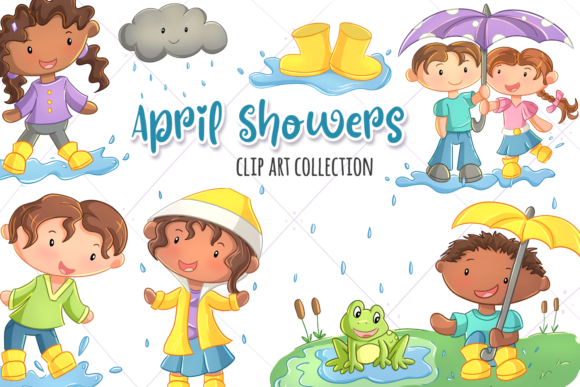 Print on Demand: April Showers Graphic Illustrations By Keepinitkawaiidesign