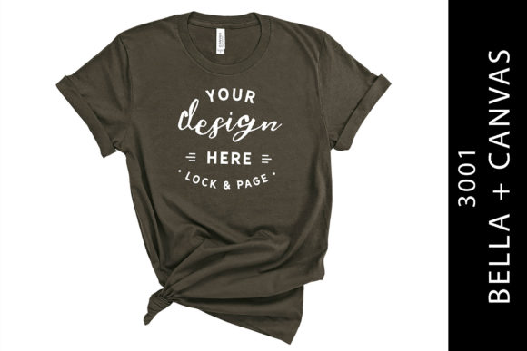 Army Bella Canvas 3001 Mockup T-Shirt Graphic Product Mockups By lockandpage