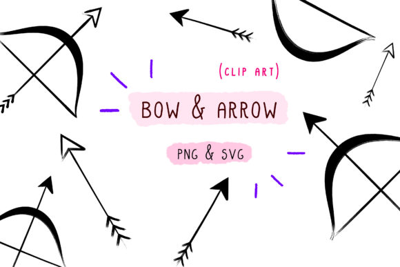 Download Free Arrow Bow Clip Art Paint Brush Vector Graphic By for Cricut Explore, Silhouette and other cutting machines.