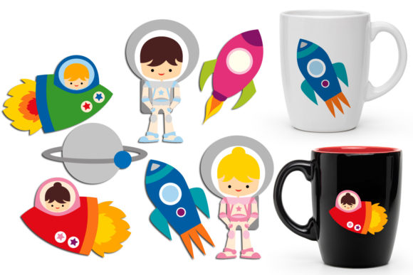 Print on Demand: Astronauts Graphic Illustrations By Revidevi - Image 1