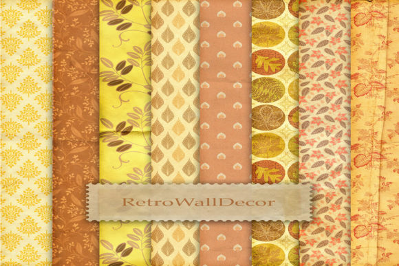 Autumn Digital Papers, Crumpled Digital Graphic By retrowalldecor
