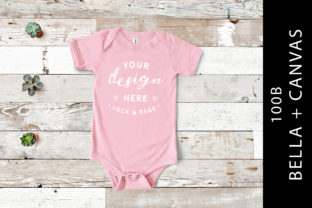 Babies Pink Bella Canvas 100B Rompersuit Graphic Product Mockups By lockandpage