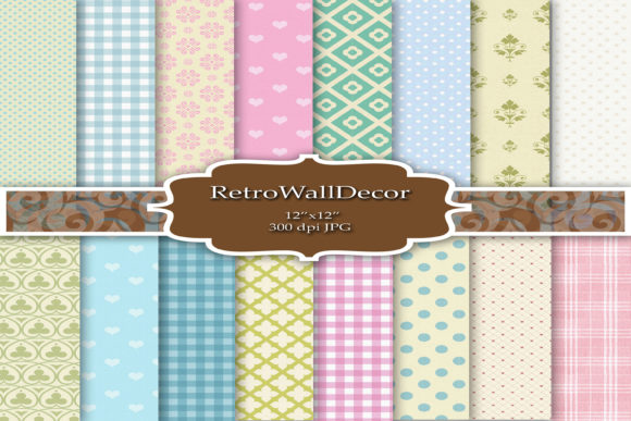 Print on Demand: Baby Digital Papers Pack Graphic Backgrounds By retrowalldecor