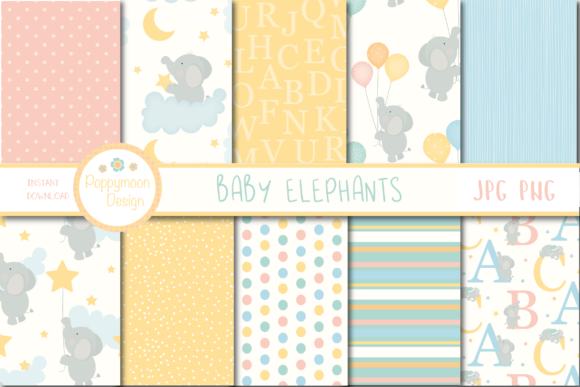 Print on Demand: Baby Elephant Paper Graphic Patterns By poppymoondesign
