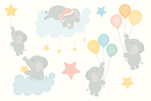 Print on Demand: Baby Elephants Clipart Graphic Illustrations By poppymoondesign - Image 2