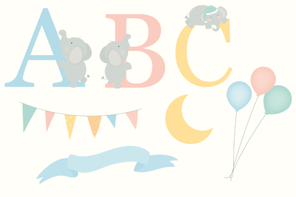 Print on Demand: Baby Elephants Clipart Graphic Illustrations By poppymoondesign - Image 3